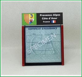 ( R13 )   Un Porte certificat d'assurance ou CT. Région Provence Alpes Côte d'Azur  (fond noir ou transparent)