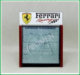 ( DM021 )   Un Porte certificat d'assurance ou CT auto avec dessin Ferrari racing   (fond noir ou transparent)