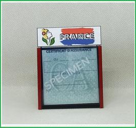 ( DV016 )   Un Porte certificat d'assurance ou CT auto avec dessin Marianne France  (fond noir ou transparent)