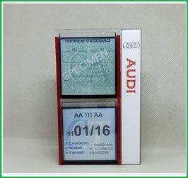 AUDI.   Un Porte certificats double pour assurance et CT avec logo Audi  (fond noir ou transparent)