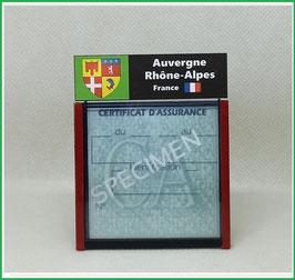 ( R01 )   Un Porte certificat d'assurance ou CT. Région Auvergne-Rhône-Alpes  (fond noir ou transparent)
