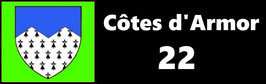 ( 22 )   Un Porte certificat pour assurance ou CT. Département Côtes d'Armor  (fond noir ou transparent)