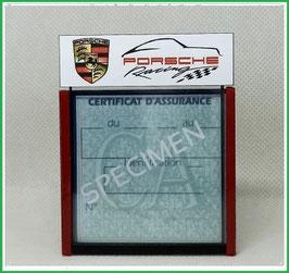 ( DM018 )   Un Porte certificat d'assurance ou CT auto avec dessin  Porsche racing  (fond noir ou transparent)