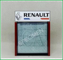 ( DM003 )   Un Porte certificat d'assurance ou CT auto avec dessin Renault drapeau Fr  (fond noir ou transparent)