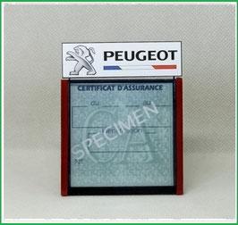 ( DM001 )   Un Porte certificat d'assurance ou CT auto avec dessin Peugeot Drapeau Fr (fond noir ou transparent)