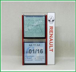 RENAULT.   Un Porte certificats double pour assurance et CT avec logo Renault (fond noir ou transparent)