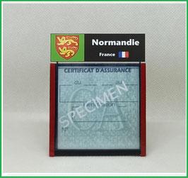 ( R09 )   Un Porte certificat d'assurance ou CT. Région Normandie  (fond noir ou transparent)
