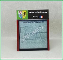 ( R07 )   Un Porte certificat d'assurance ou CT. Région Hauts de France  (fond noir ou transparent)