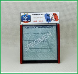( DV013 )   Un Porte certificat d'assurance ou CT auto avec dessin FFF Champions du monde  (fond noir ou transparent)