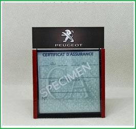 ( DM002 )   Un Porte certificat d'assurance ou CT auto avec dessin Peugeot  (fond noir ou transparent)