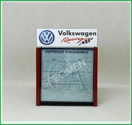 ( DM025 )   Un Porte certificat d'assurance ou CT auto avec dessin Volkswagen racing   (fond noir ou transparent)