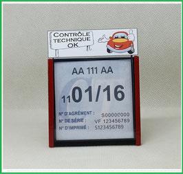 ( DV008 )   Un Porte certificat Contrôle Technique auto avec dessin Contrôle Technique OK   (fond noir ou transparent)