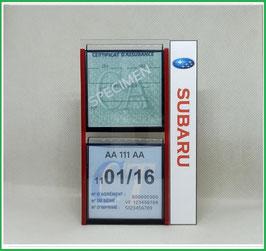 SUBARU.   Un Porte certificats double pour assurance et CT avec logo Subaru  (fond noir ou transparent)