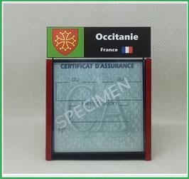 ( R11 )   Un Porte certificat d'assurance ou CT. Région Occitanie  (fond noir ou transparent)