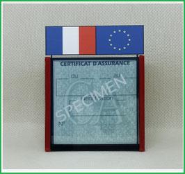 ( DV001 )   Un Porte certificat d'assurance ou CT avec dessin drapeau France et Europe  (fond transparent ou noir)