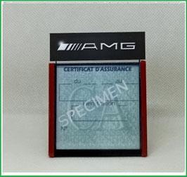 ( DM013 )   Un Porte certificat d'assurance ou CT auto avec dessin AMG  (fond noir ou transparent)