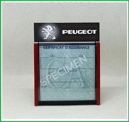 ( DM005 )   Un Porte certificat d'assurance ou CT auto avec dessin Peugeot fond noir A  (fond noir ou transparent)