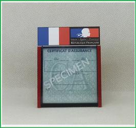 ( DV002 )   Un Porte certificat d'assurance ou CT avec dessin Drapeau France Marianne noir  (fond transparent ou noir)