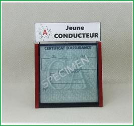 ( DV015 )   Un Porte certificat d'assurance ou CT auto avec dessin A Jeune conducteur  (fond noir ou transparent)