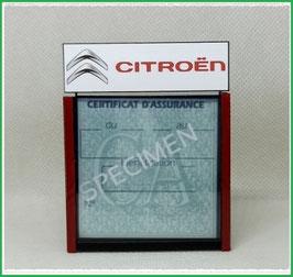 ( DM006 )   Un Porte certificat d'assurance ou CT auto avec dessin Citroën logo  (fond noir ou transparent)