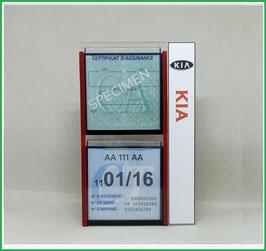 KIA.   Un Porte certificats double pour assurance et CT avec logo Kia  (fond noir ou transparent)