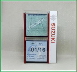 SUZUKI.   Un Porte certificats double pour assurance et CT avec logo Suzuki  (fond noir ou transparent)