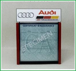 ( DM011 )   Un Porte certificat d'assurance ou CT auto avec dessin Audi Sport  (fond noir ou transparent)