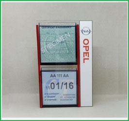 OPEL.   Un Porte certificats double pour assurance et CT avec logo Opel  (fond noir ou transparent)