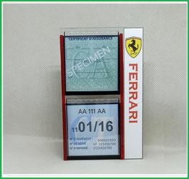 FERRARI.   Un Porte certificats double pour assurance et CT avec logo Ferrari  (fond noir ou transparent)