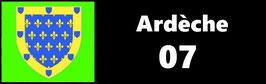 ( 07 )   Un Porte certificat pour assurance ou CT. Département Ardèche (fond noir ou transparent)
