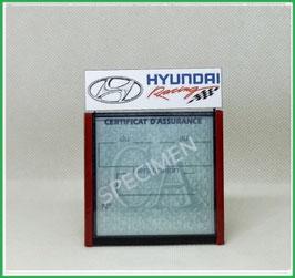 ( DM022 )   Un Porte certificat d'assurance ou CT auto avec dessin Hyundai  racing   (fond noir ou transparent)