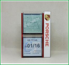 PORSCHE.   Un Porte certificats double pour assurance et CT avec logo Porsche  (fond noir ou transparent)