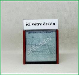 ( 0000 )   Un Porte certificat d'assurance ou CT auto avec votre dessin Perso (fond noir ou transparent)