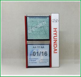 HYUNDAI.   Un Porte certificats double pour assurance et CT avec logo Hyundai  (fond noir ou transparent)