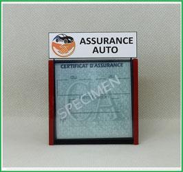 ( DV006 )   Un Porte certificat d'assurance ou CT auto avec dessin Mains Assurance Auto  (fond noir ou transparent)