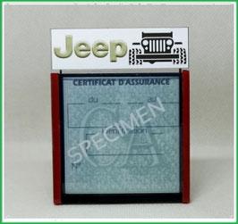 ( DM017 )   Un Porte certificat d'assurance ou CT auto avec dessin  Jeep  (fond noir ou transparent)