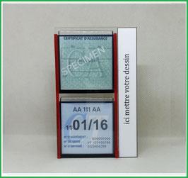 ( 100M )   Un Porte certificat double pour assurance et CT avec votre dessin Perso  (fond noir ou transparent)