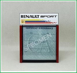 ( DM026 )   Un Porte certificat d'assurance ou CT auto avec dessin Renault sport  (fond noir ou transparent)