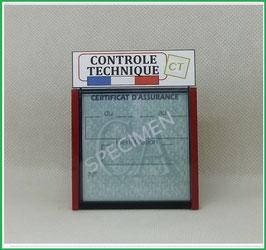 ( DV003 )   Un Porte certificat Contrôle Technique auto avec dessin Contrôle Technique  (fond transparent ou noir)