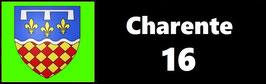 ( 16 )   Un Porte certificat pour assurance ou CT. Département Charente (fond noir ou transparent)