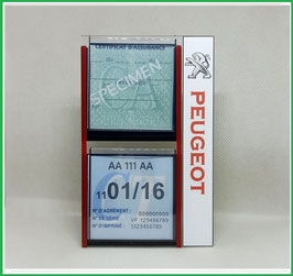 PEUGEOT.   Un Porte certificats double pour assurance et CT auto avec logo Peugeot (fond noir ou transparent)