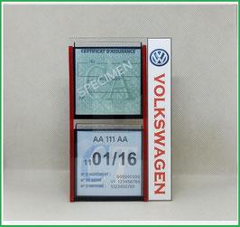 VOLKSWAGEN.   Un Porte certificats double pour assurance et CT avec logo Volkswagen  (fond noir ou transparent)
