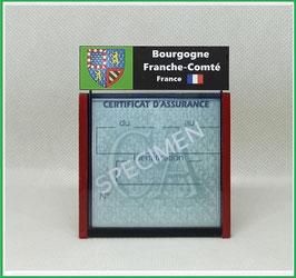 ( R02 )   Un Porte certificat d'assurance ou CT. Région Bourgogne-Franche-Comté  (fond noir ou transparent)