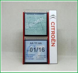 CITROEN.   Un Porte certificats double pour assurance et CT avec logo Citroën  (fond noir ou transparent)