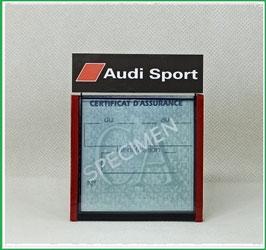( DM010 )   Un Porte certificat d'assurance ou CT auto avec dessin Audi Sport noir  (fond noir ou transparent)