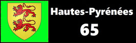 ( 65 )   Un Porte certificat simple pour assurance ou CT. Département Hautes Pyrénées  (fond noir ou transparent)