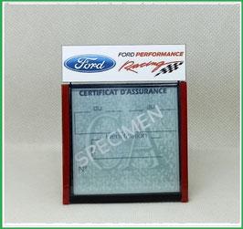 ( DM016 )   Un Porte certificat d'assurance ou CT auto avec dessin  Ford racing  (fond noir ou transparent)