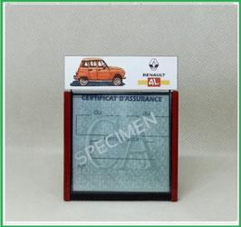 ( DM027 )    Un Porte certificat d'assurance ou CT auto avec dessin Auto 4L (fond noir ou transparent)