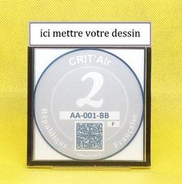 ( CR 21 )   Un support porte certificat Crit'air avec votre dessin Perso (fond noir)