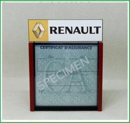 ( DM008 )   Un Porte certificat d'assurance ou CT auto avec dessin Renault logo jaune  (fond noir ou transparent)